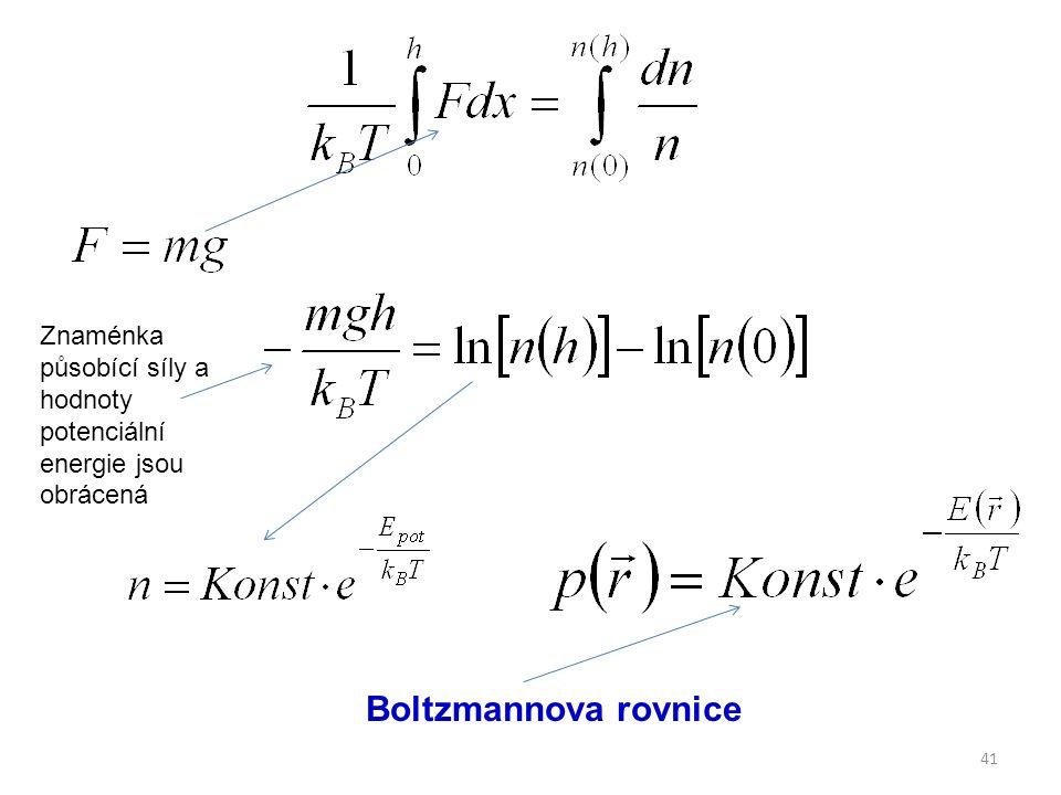 41 Boltzmannova rovnice Znaménka působící síly a hodnoty potenciální energie jsou obrácená