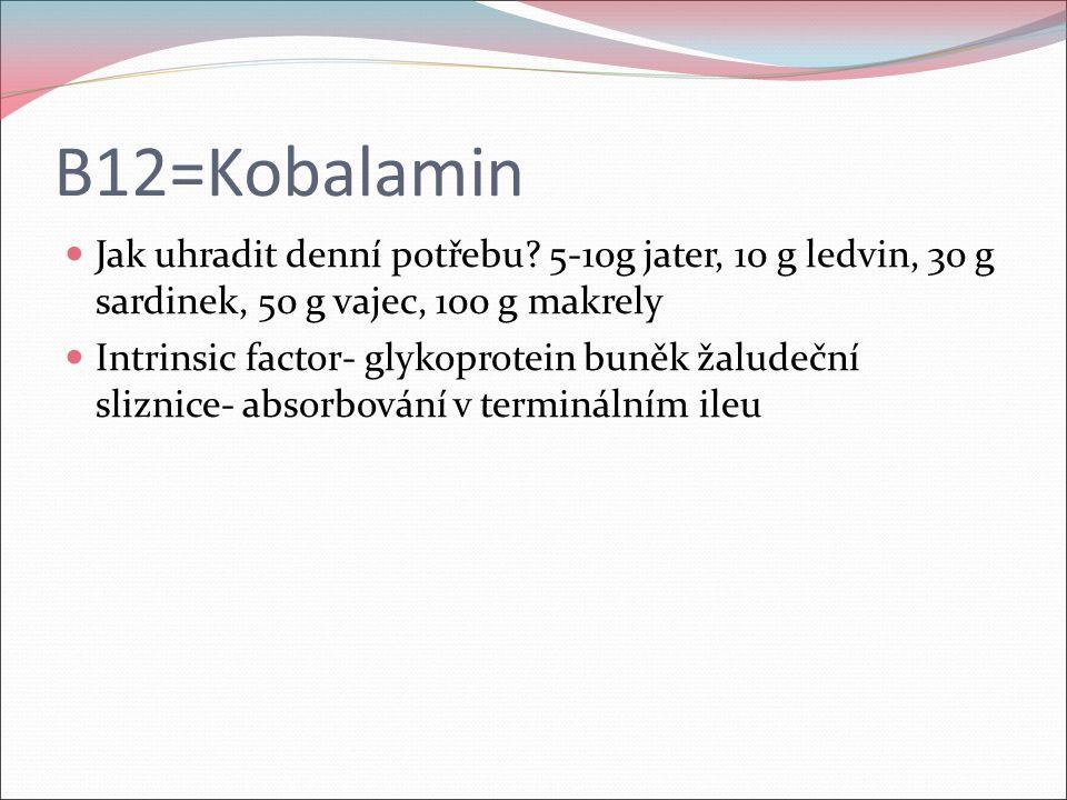 B12=Kobalamin Jak uhradit denní potřebu? 5-10g jater, 10 g ledvin, 30 g sardinek, 50 g vajec, 100 g makrely Intrinsic factor- glykoprotein buněk žalud