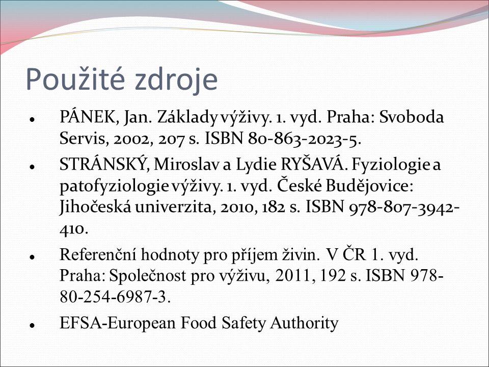 Použité zdroje PÁNEK, Jan. Základy výživy. 1. vyd. Praha: Svoboda Servis, 2002, 207 s. ISBN 80-863-2023-5. STRÁNSKÝ, Miroslav a Lydie RYŠAVÁ. Fyziolog
