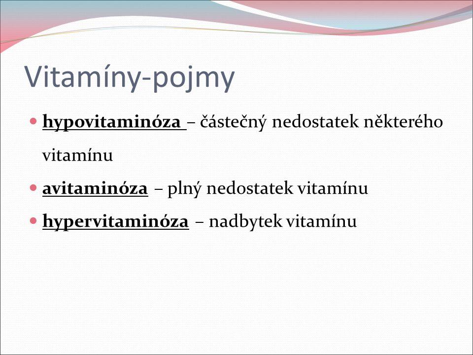 Vitamíny-pojmy hypovitaminóza – částečný nedostatek některého vitamínu avitaminóza – plný nedostatek vitamínu hypervitaminóza – nadbytek vitamínu