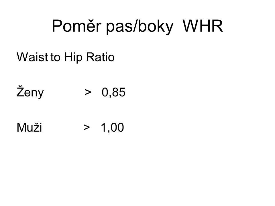 Poměr pas/boky WHR Waist to Hip Ratio Ženy > 0,85 Muži > 1,00