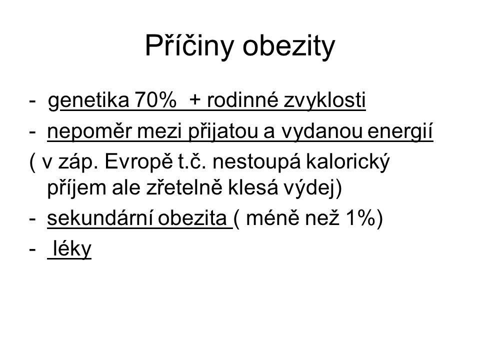 Příčiny obezity - genetika 70% + rodinné zvyklosti -nepoměr mezi přijatou a vydanou energií ( v záp.