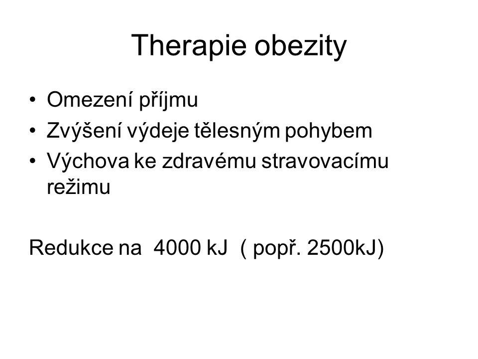 Therapie obezity Omezení příjmu Zvýšení výdeje tělesným pohybem Výchova ke zdravému stravovacímu režimu Redukce na 4000 kJ ( popř.