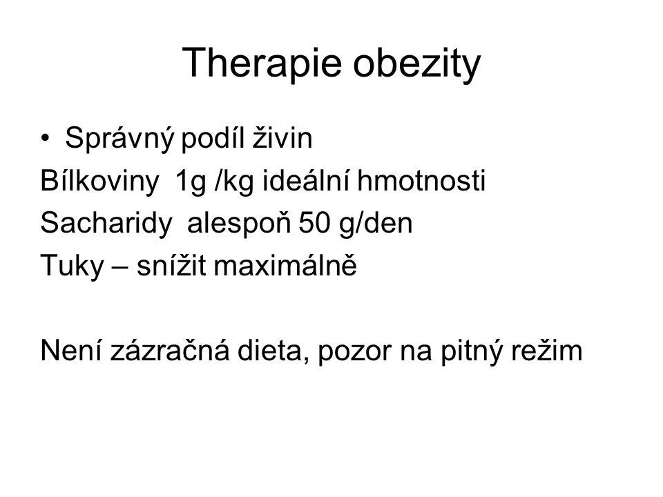 Therapie obezity Správný podíl živin Bílkoviny 1g /kg ideální hmotnosti Sacharidy alespoň 50 g/den Tuky – snížit maximálně Není zázračná dieta, pozor na pitný režim