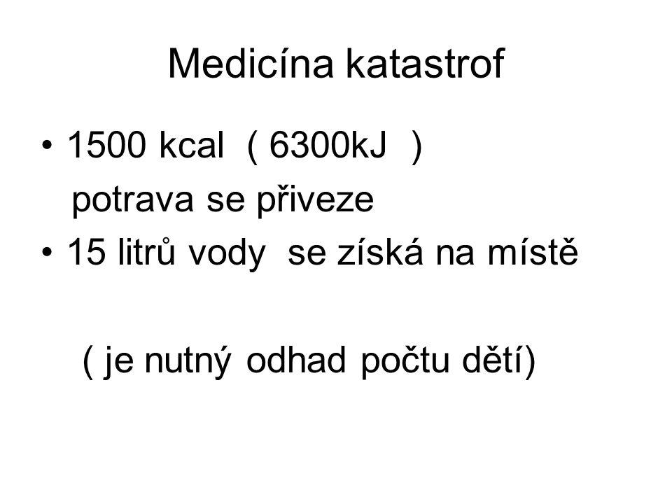 Medicína katastrof 1500 kcal ( 6300kJ ) potrava se přiveze 15 litrů vody se získá na místě ( je nutný odhad počtu dětí)
