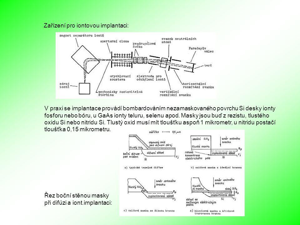 Zařízení pro iontovou implantaci: V praxi se implantace provádí bombardováním nezamaskovaného povrchu Si desky ionty fosforu nebo bóru, u GaAs ionty teluru, selenu apod.