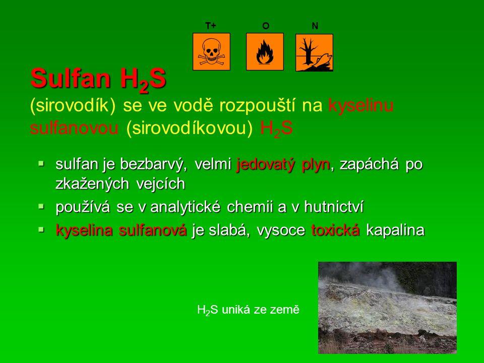 Sulfan H 2 S Sulfan H 2 S (sirovodík) se ve vodě rozpouští na kyselinu sulfanovou (sirovodíkovou) H 2 S  sulfan je bezbarvý, velmi jedovatý plyn, zapáchá po zkažených vejcích  používá se v analytické chemii a v hutnictví  kyselina sulfanová je slabá, vysoce toxická kapalina T+ON H 2 S uniká ze země