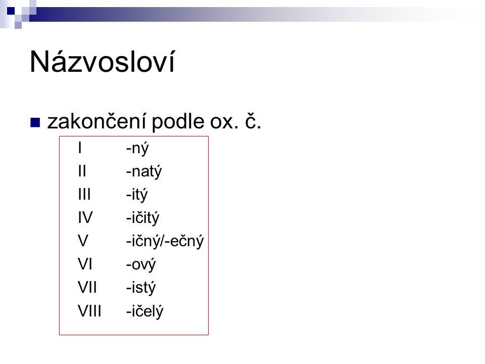 Názvosloví zakončení podle ox. č.