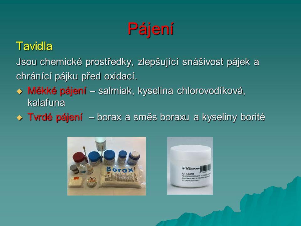 Pájení Tavidla Jsou chemické prostředky, zlepšující snášivost pájek a chránící pájku před oxidací.