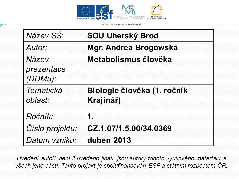 Název SŠ:SOU Uherský Brod Autor:Mgr. Andrea Brogowská Název prezentace (DUMu): Metabolismus člověka Tematická oblast: Biologie člověka (1. ročník Kraj