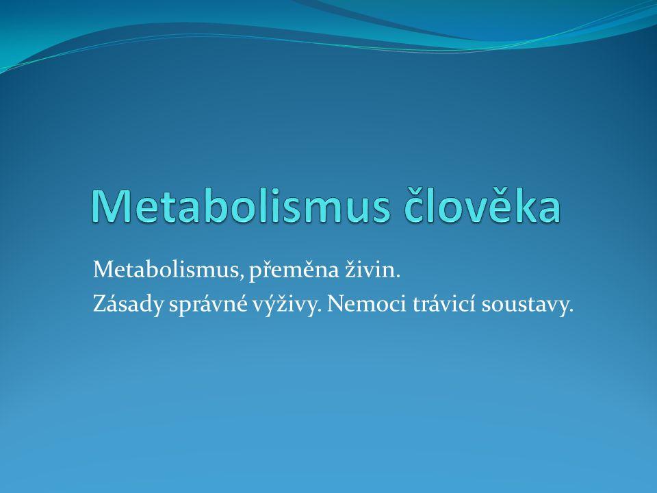 Metabolismus, přeměna živin. Zásady správné výživy. Nemoci trávicí soustavy.