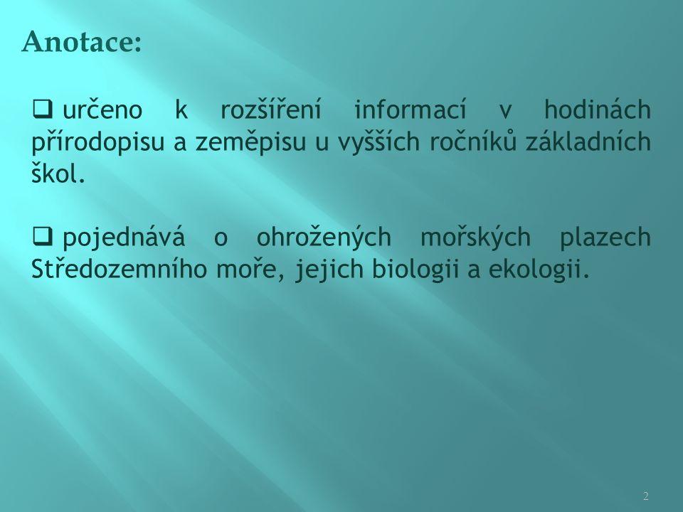 Anotace:  určeno k rozšíření informací v hodinách přírodopisu a zeměpisu u vyšších ročníků základních škol.