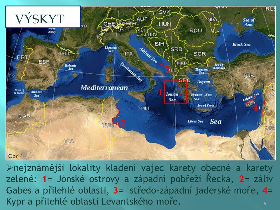  nejznámější lokality kladení vajec karety obecné a karety zelené: 1= Jónské ostrovy a západní pobřeží Řecka, 2= záliv Gabes a přilehlé oblasti, 3= středo-západní jaderské moře, 4= Kypr a přilehlé oblasti Levantského moře.