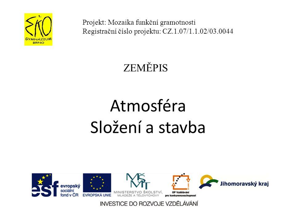Atmosféra Složení a stavba Projekt: Mozaika funkční gramotnosti Registrační číslo projektu: CZ.1.07/1.1.02/03.0044 ZEMĚPIS