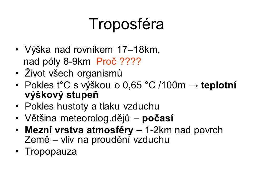 Troposféra Výška nad rovníkem 17–18km, nad póly 8-9km Proč ???? Život všech organismů Pokles t°C s výškou o 0,65 °C /100m → teplotní výškový stupeň Po