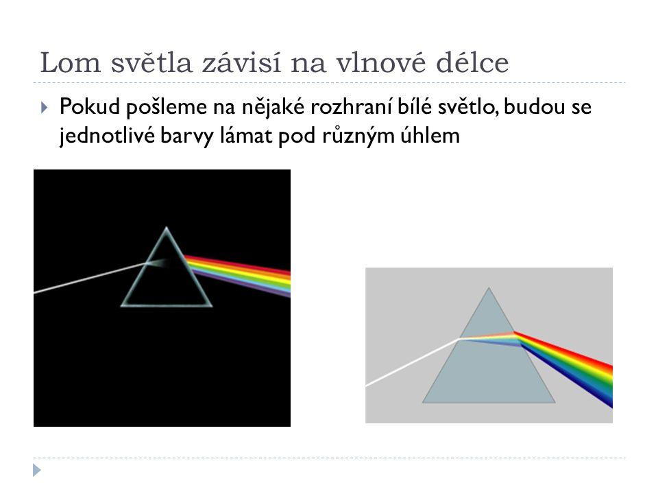 Lom světla závisí na vlnové délce  Pokud pošleme na nějaké rozhraní bílé světlo, budou se jednotlivé barvy lámat pod různým úhlem