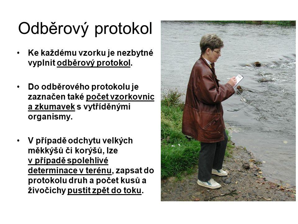 Odběrový protokol Ke každému vzorku je nezbytné vyplnit odběrový protokol.