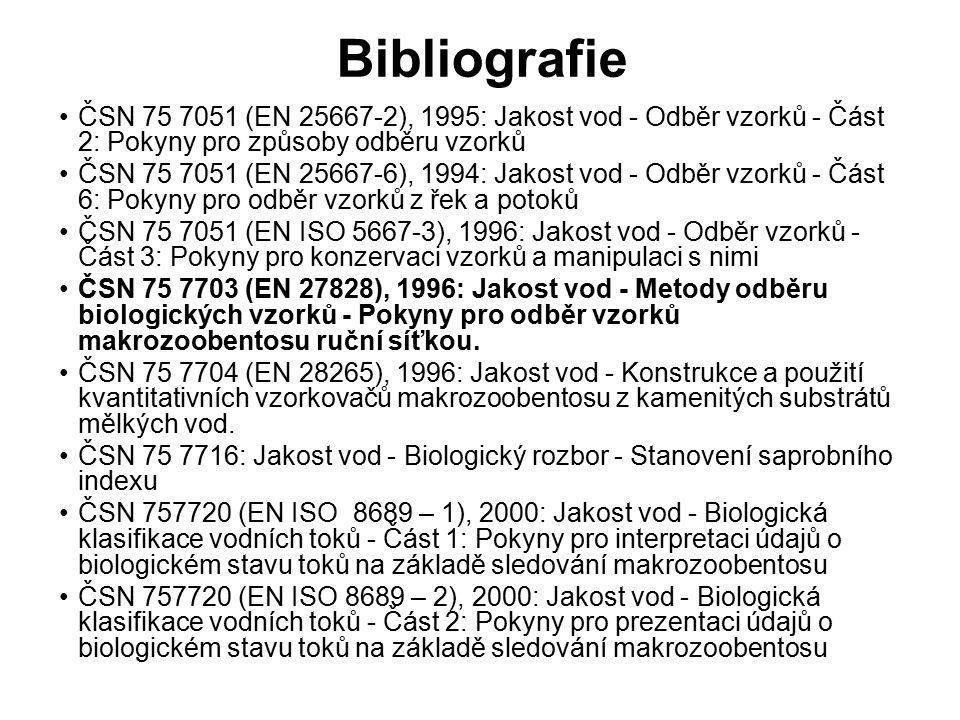 Bibliografie ČSN 75 7051 (EN 25667-2), 1995: Jakost vod - Odběr vzorků - Část 2: Pokyny pro způsoby odběru vzorků ČSN 75 7051 (EN 25667-6), 1994: Jakost vod - Odběr vzorků - Část 6: Pokyny pro odběr vzorků z řek a potoků ČSN 75 7051 (EN ISO 5667-3), 1996: Jakost vod - Odběr vzorků - Část 3: Pokyny pro konzervaci vzorků a manipulaci s nimi ČSN 75 7703 (EN 27828), 1996: Jakost vod - Metody odběru biologických vzorků - Pokyny pro odběr vzorků makrozoobentosu ruční síťkou.