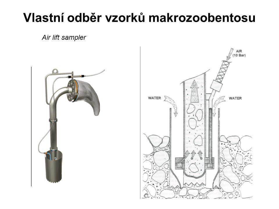 Vlastní odběr vzorků makrozoobentosu Air lift sampler