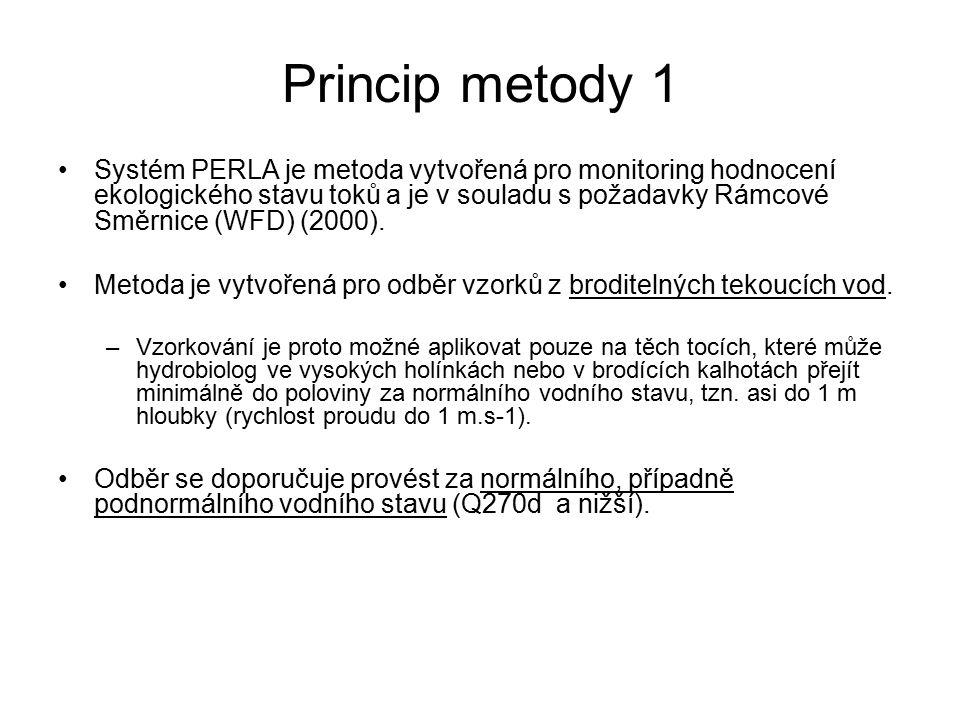 Princip metody 2 Metoda PERLA je založena na multihabitatovém odběru (ČSN 757703), při kterém jsou habitaty v toku vzorkovány proporcionálně podle jejich výskytu v odběrovém úseku toku.