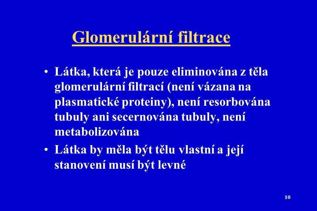 10 Glomerulární filtrace Látka, která je pouze eliminována z těla glomerulární filtrací (není vázana na plasmatické proteiny), není resorbována tubuly ani secernována tubuly, není metabolizována Látka by měla být tělu vlastní a její stanovení musí být levné