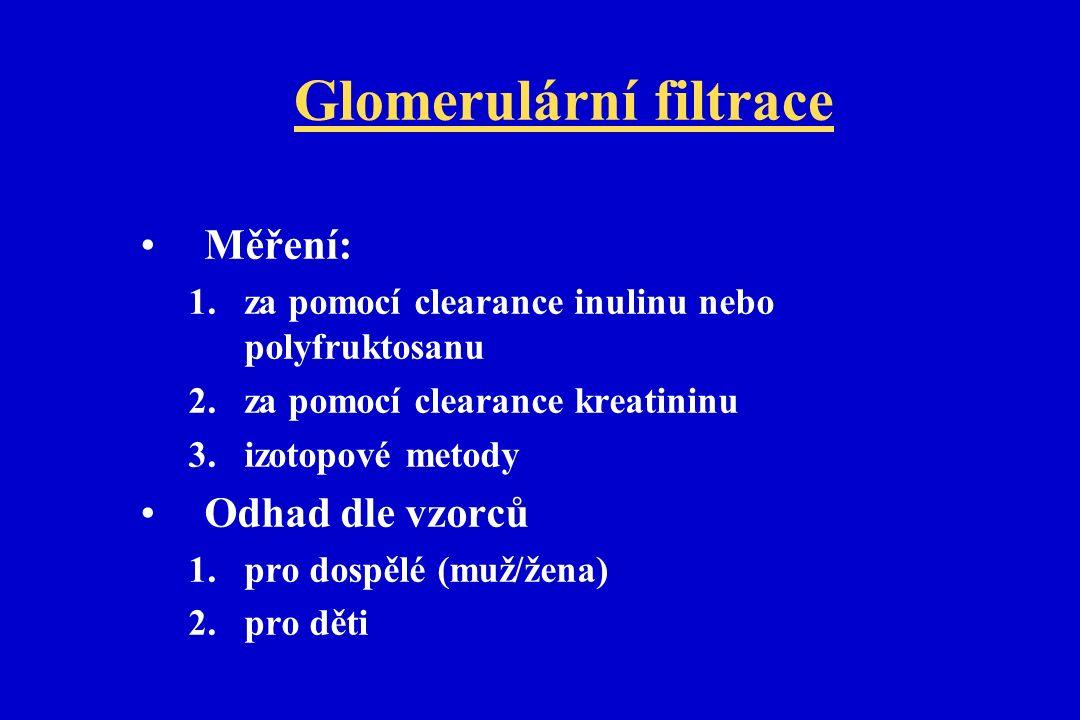 Glomerulární filtrace Měření: 1.za pomocí clearance inulinu nebo polyfruktosanu 2.za pomocí clearance kreatininu 3.izotopové metody Odhad dle vzorců 1.pro dospělé (muž/žena) 2.pro děti