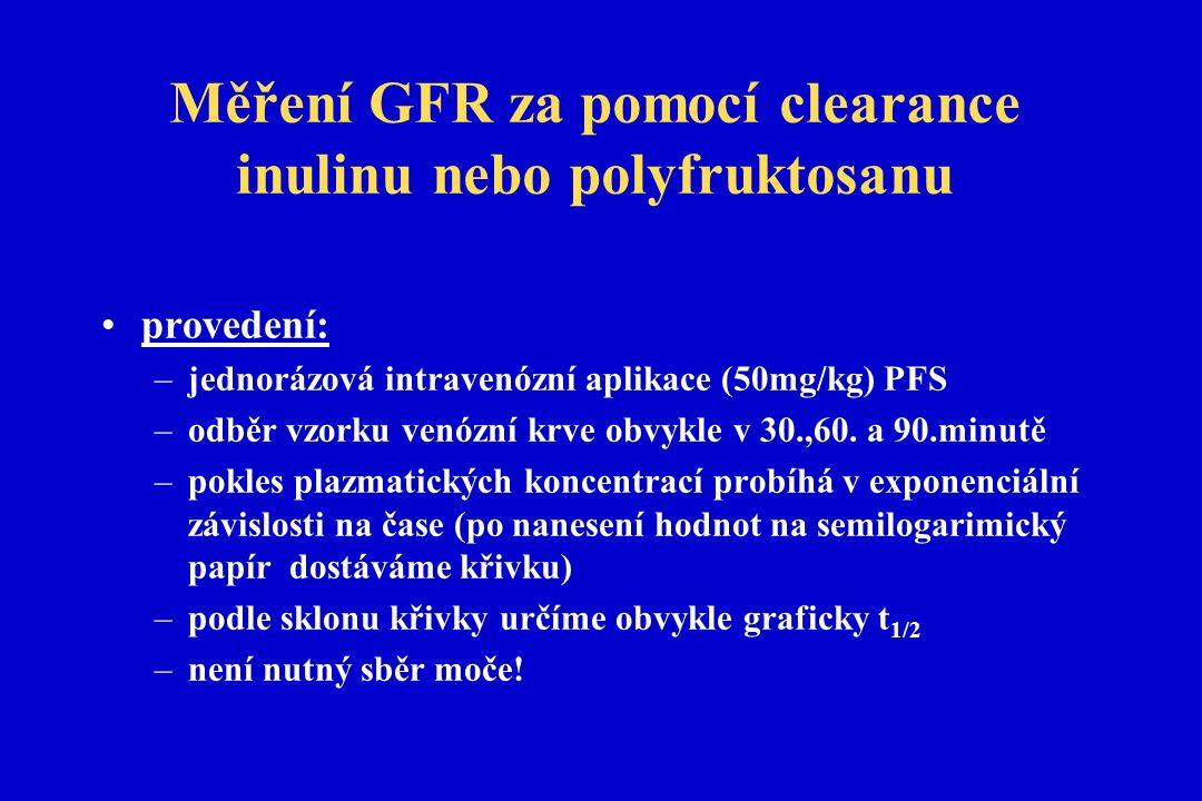 Měření GFR za pomocí clearance inulinu nebo polyfruktosanu provedení: –jednorázová intravenózní aplikace (50mg/kg) PFS –odběr vzorku venózní krve obvykle v 30.,60.