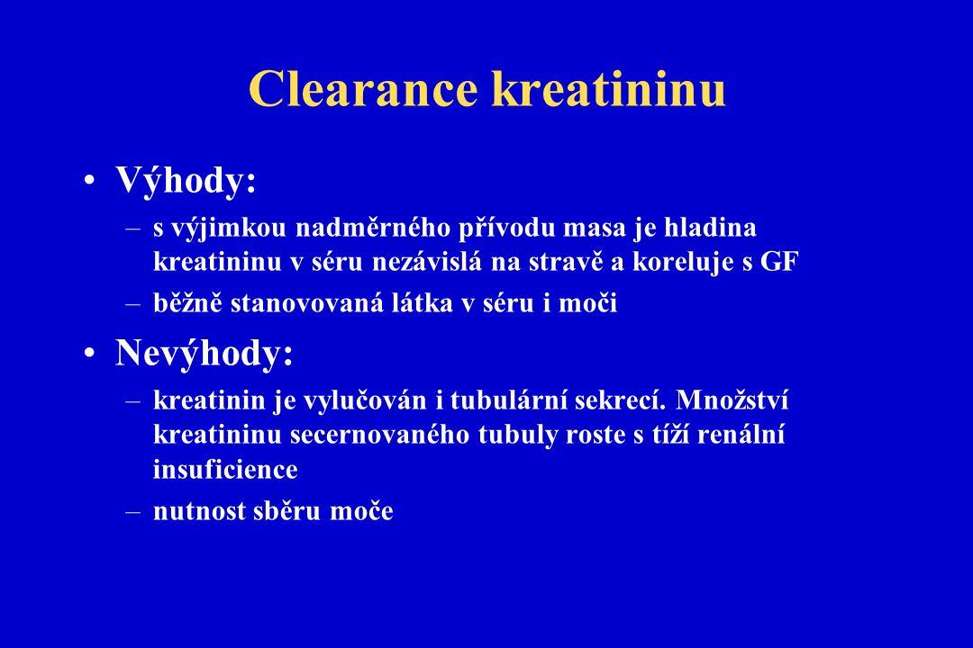 Clearance kreatininu Výhody: –s výjimkou nadměrného přívodu masa je hladina kreatininu v séru nezávislá na stravě a koreluje s GF –běžně stanovovaná látka v séru i moči Nevýhody: –kreatinin je vylučován i tubulární sekrecí.