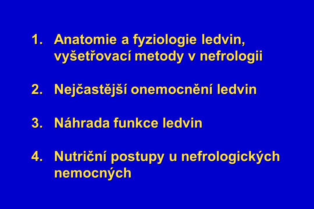 1.Anatomie a fyziologie ledvin, vyšetřovací metody v nefrologii 2.Nejčastější onemocnění ledvin 3.Náhrada funkce ledvin 4.Nutriční postupy u nefrologických nemocných