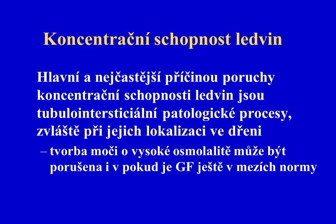 Koncentrační schopnost ledvin Hlavní a nejčastější příčinou poruchy koncentrační schopnosti ledvin jsou tubulointersticiální patologické procesy, zvláště při jejich lokalizaci ve dřeni –tvorba moči o vysoké osmolalitě může být porušena i v pokud je GF ještě v mezích normy