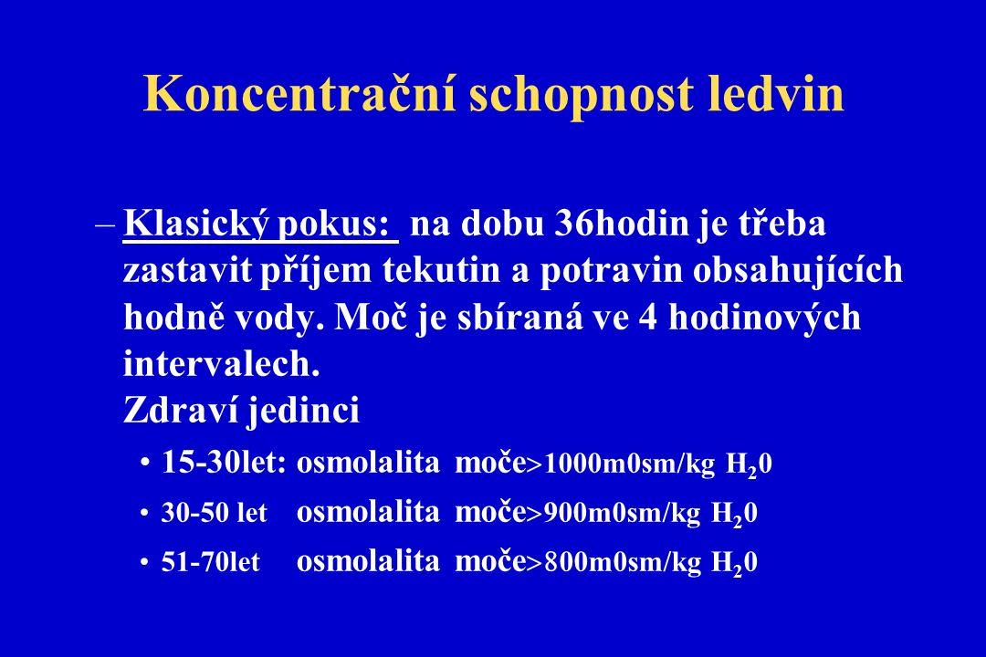 Koncentrační schopnost ledvin –Klasický pokus: na dobu 36hodin je třeba zastavit příjem tekutin a potravin obsahujících hodně vody.