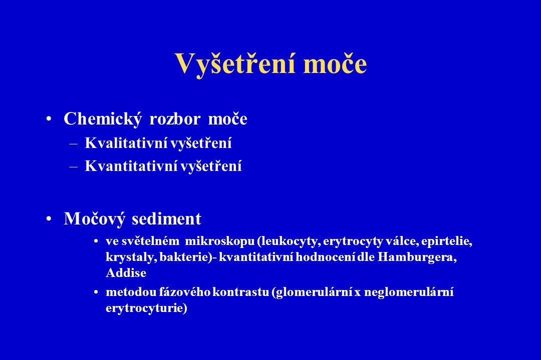 Vyšetření moče Chemický rozbor moče –Kvalitativní vyšetření –Kvantitativní vyšetření Močový sediment ve světelném mikroskopu (leukocyty, erytrocyty válce, epirtelie, krystaly, bakterie)- kvantitativní hodnocení dle Hamburgera, Addise metodou fázového kontrastu (glomerulární x neglomerulární erytrocyturie)