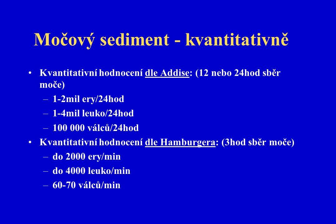 Močový sediment - kvantitativně Kvantitativní hodnocení dle Addise: (12 nebo 24hod sběr moče) –1-2mil ery/24hod –1-4mil leuko/24hod –100 000 válců/24hod Kvantitativní hodnocení dle Hamburgera: (3hod sběr moče) –do 2000 ery/min –do 4000 leuko/min –60-70 válců/min