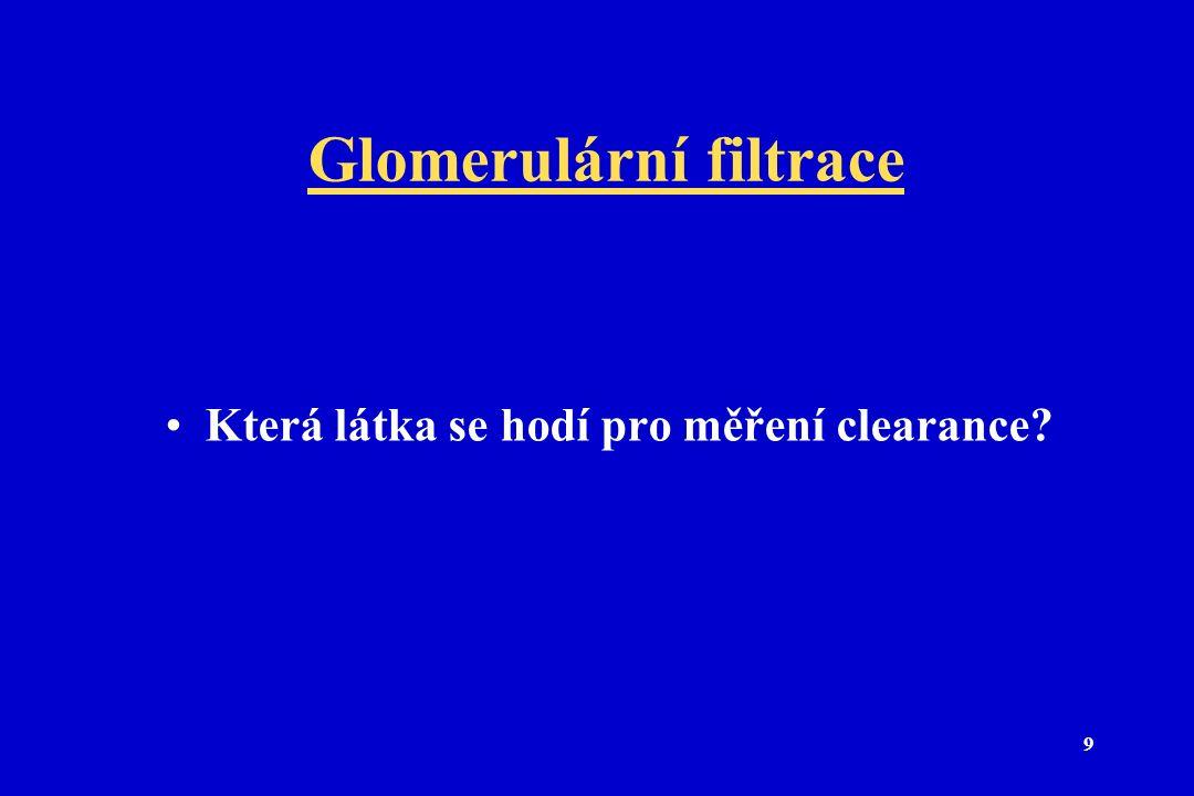 9 Glomerulární filtrace Která látka se hodí pro měření clearance?