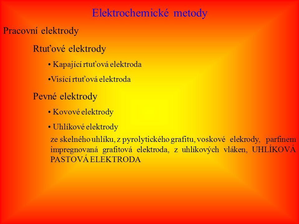 Elektrochemické metody Pracovní elektrody Rtuťové elektrody Kapající rtuťová elektroda Visící rtuťová elektroda Pevné elektrody Kovové elektrody Uhlíkové elektrody ze skelného uhlíku, z pyrolytického grafitu, voskové elekrody, parfinem impregnovaná grafitová elektroda, z uhlíkových vláken, UHLÍKOVÁ PASTOVÁ ELEKTRODA