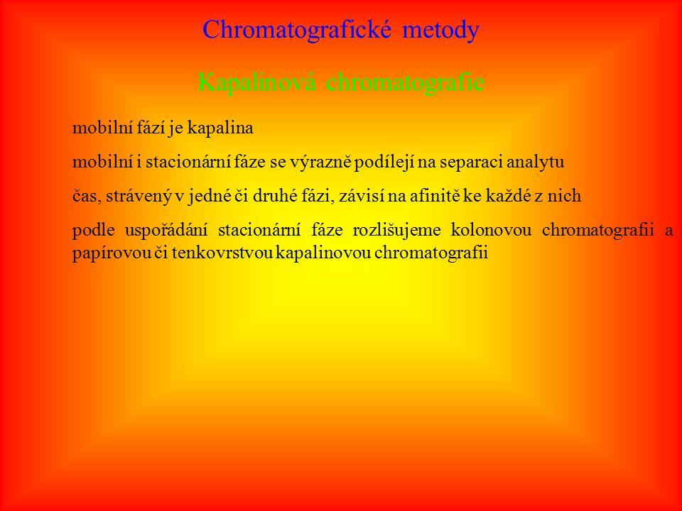 Chromatografické metody Kapalinová chromatografie mobilní fází je kapalina mobilní i stacionární fáze se výrazně podílejí na separaci analytu čas, strávený v jedné či druhé fázi, závisí na afinitě ke každé z nich podle uspořádání stacionární fáze rozlišujeme kolonovou chromatografii a papírovou či tenkovrstvou kapalinovou chromatografii