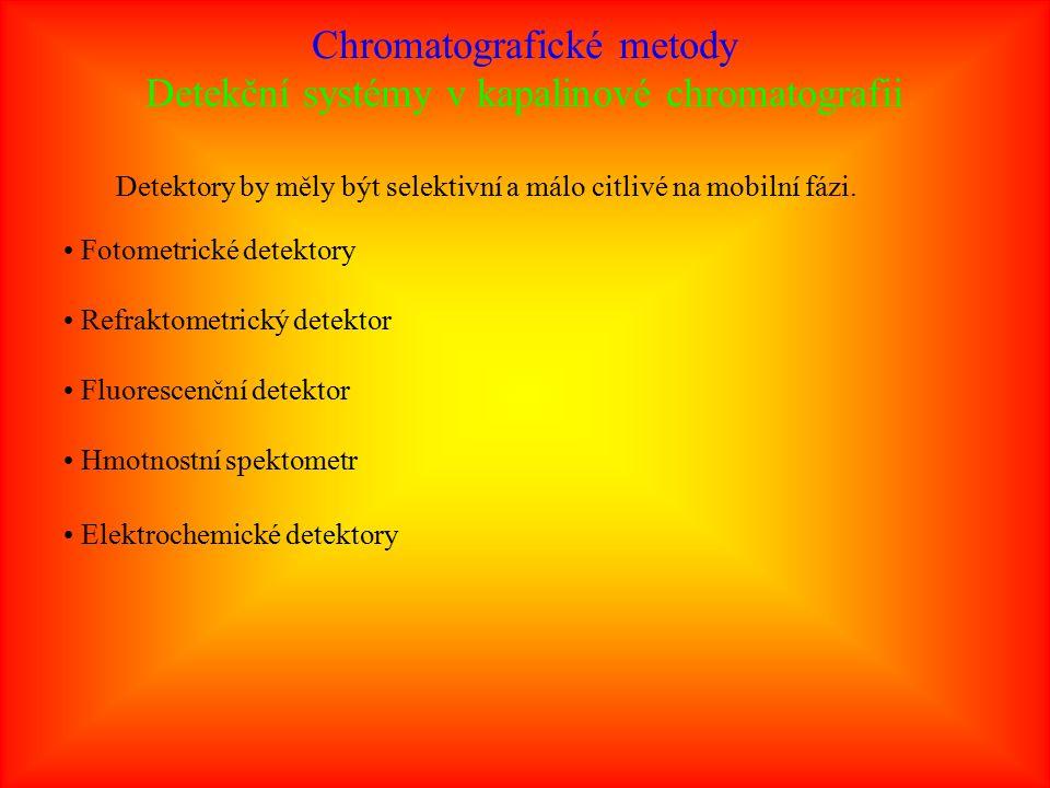 Chromatografické metody Detekční systémy v kapalinové chromatografii Detektory by měly být selektivní a málo citlivé na mobilní fázi.