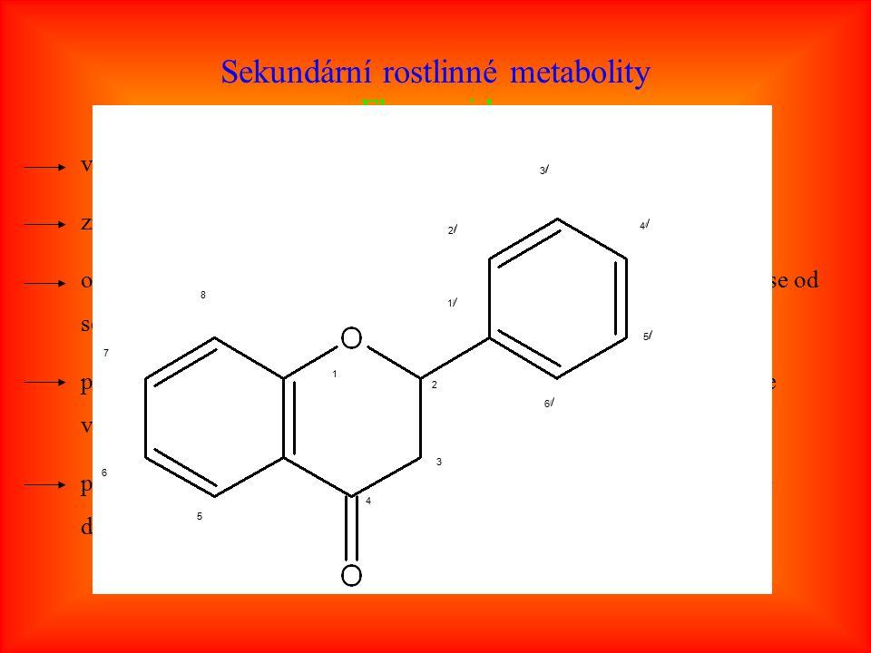 Sekundární rostlinné metabolity Flavonoidy velice rozsáhlá skupina rostlinných fenolů známo více jak 4 000 těchto látek, stále se nacházejí další odvozeny od heterocyklické sloučeniny flavanu, jednotlivé flavonoidy se od sebe liší stupněm oxidace a substituce přírodní se vyskytují většinou ve formě O-glykosidů, volné aglykony se vyskytují většinou zřídka při technologickém zpracování (vliv teploty a kyselého prostředí) může docházet ke zvýšené koncentraci aglykonů 5/5/ 4/4/ 1 2 3 4 5 6 7 8 1/1/ 6/6/ 3/3/ 2/2/