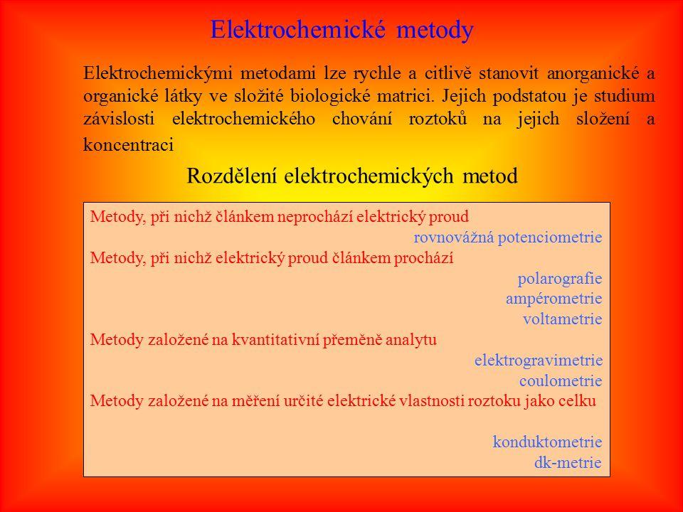 Elektrochemické metody Elektrochemickými metodami lze rychle a citlivě stanovit anorganické a organické látky ve složité biologické matrici.