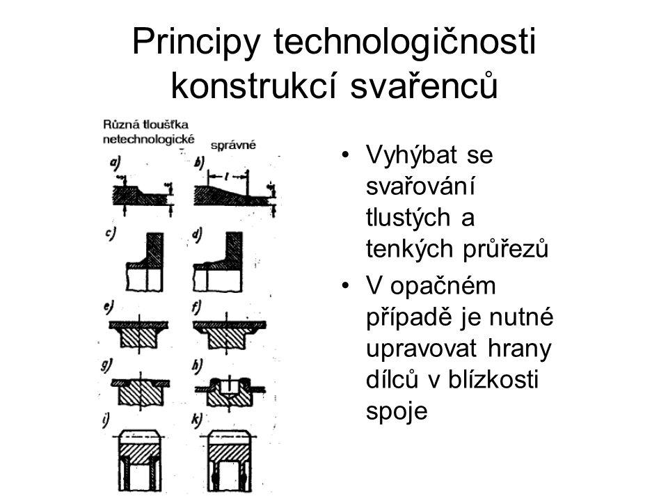 Principy technologičnosti konstrukcí svařenců Vyhýbat se svařování tlustých a tenkých průřezů V opačném případě je nutné upravovat hrany dílců v blízkosti spoje