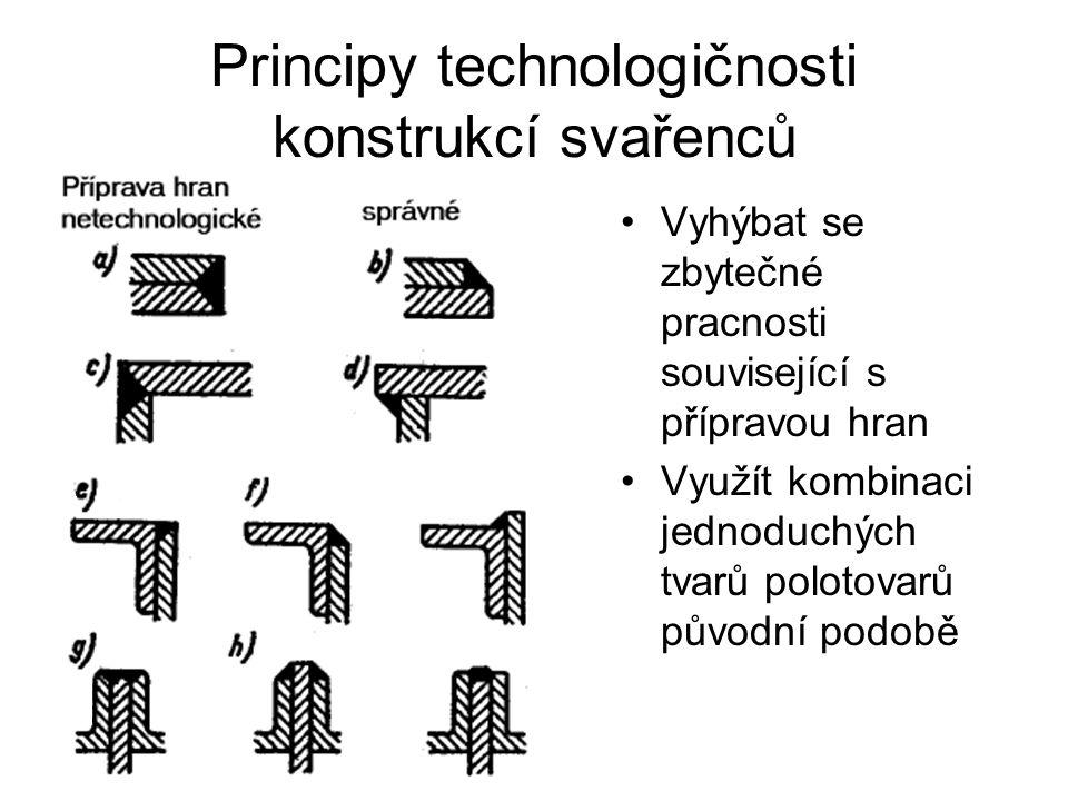 Principy technologičnosti konstrukcí svařenců Vyhýbat se zbytečné pracnosti související s přípravou hran Využít kombinaci jednoduchých tvarů polotovarů původní podobě