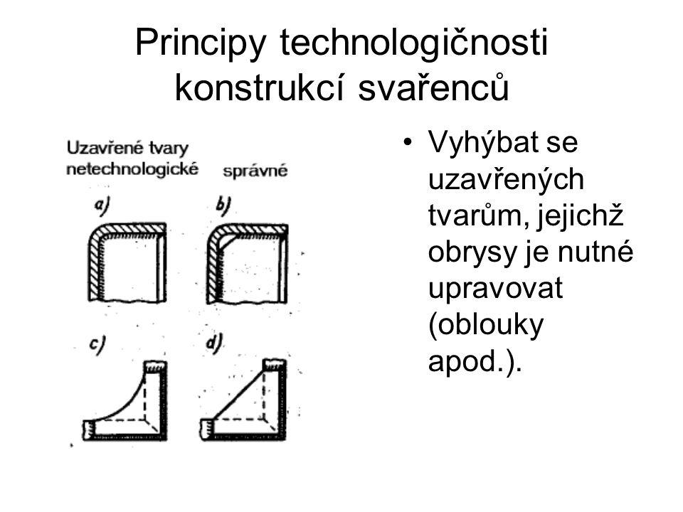 Principy technologičnosti konstrukcí svařenců Vyhýbat se uzavřených tvarům, jejichž obrysy je nutné upravovat (oblouky apod.).