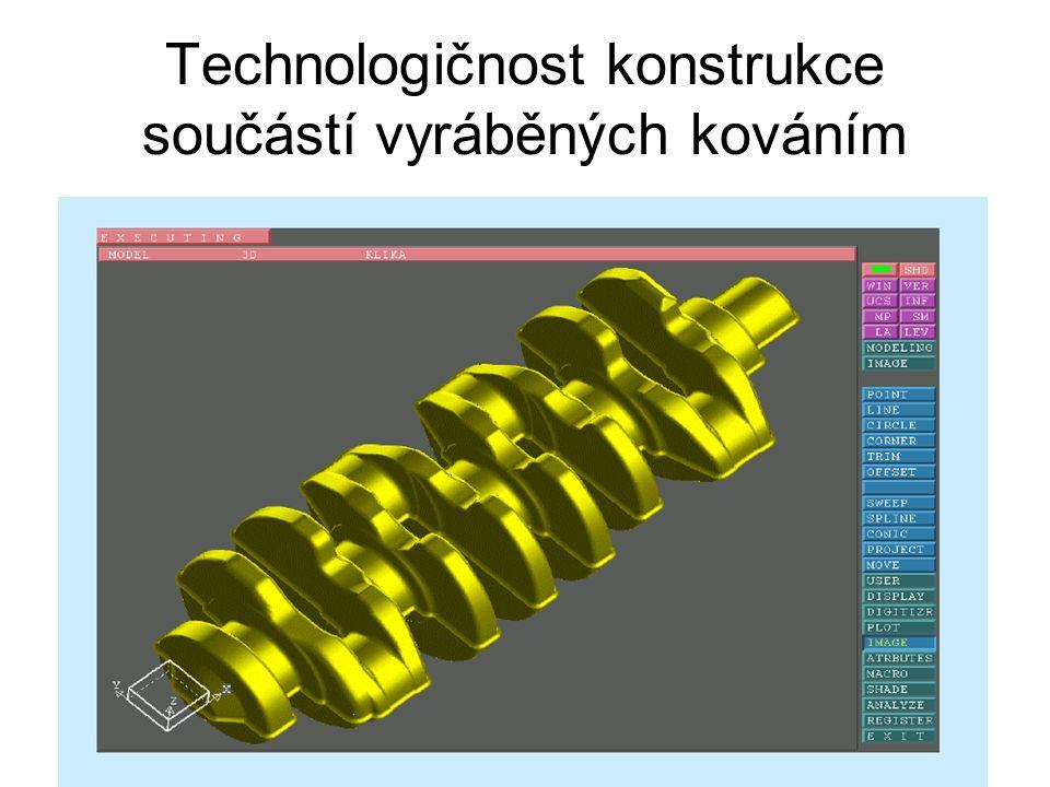 Technologičnost konstrukce součástí vyráběných kováním