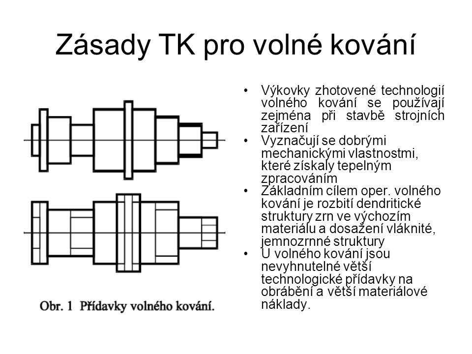 Zásady TK pro volné kování Výkovky zhotovené technologií volného kování se používají zejména při stavbě strojních zařízení Vyznačují se dobrými mechanickými vlastnostmi, které získaly tepelným zpracováním Základním cílem oper.