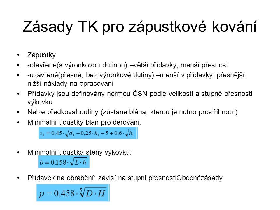 Zásady TK pro zápustkové kování Zápustky -otevřené(s výronkovou dutinou) –větší přídavky, menší přesnost -uzavřené(přesné, bez výronkové dutiny) –menší v přídavky, přesnější, nižší náklady na opracování Přídavky jsou definovány normou ČSN podle velikosti a stupně přesnosti výkovku Nelze předkovat dutiny (zůstane blána, kterou je nutno prostřihnout) Minimální tloušťky blan pro děrování: Minimální tloušťka stěny výkovku: Přídavek na obrábění: závisí na stupni přesnostiObecnézásady