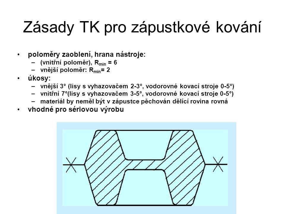 Zásady TK pro zápustkové kování poloměry zaoblení, hrana nástroje: –(vnitřní poloměr), R min = 6 –vnější poloměr: R min = 2 úkosy: –vnější 3° (lisy s