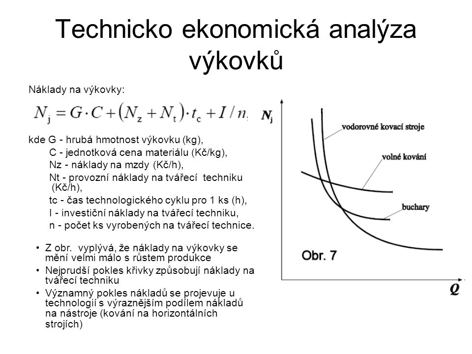 Technicko ekonomická analýza výkovků Náklady na výkovky: kde G - hrubá hmotnost výkovku (kg), C - jednotková cena materiálu (Kč/kg), Nz - náklady na mzdy (Kč/h), Nt - provozní náklady na tvářecí techniku (Kč/h), tc - čas technologického cyklu pro 1 ks (h), I - investiční náklady na tvářecí techniku, n - počet ks vyrobených na tvářecí technice.