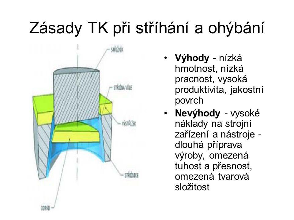 Zásady TK při stříhání a ohýbání Výhody - nízká hmotnost, nízká pracnost, vysoká produktivita, jakostní povrch Nevýhody - vysoké náklady na strojní za