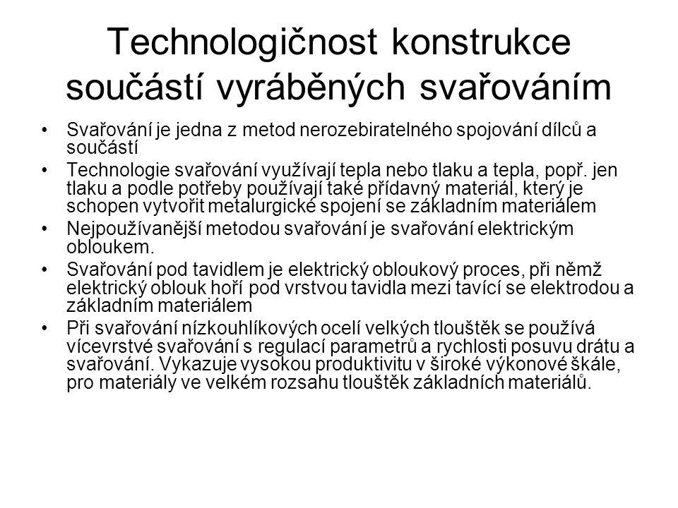 Technologičnost konstrukce součástí vyráběných svařováním Svařování je jedna z metod nerozebiratelného spojování dílců a součástí Technologie svařování využívají tepla nebo tlaku a tepla, popř.
