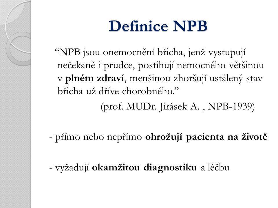 Definice NPB Definice NPB NPB jsou onemocnění břicha, jenž vystupují nečekaně i prudce, postihují nemocného většinou v plném zdraví, menšinou zhoršují ustálený stav břicha už dříve chorobného. (prof.